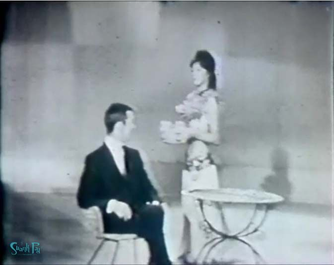 Johnny Carson with Mystery Girl on the Johnny Carson Show.